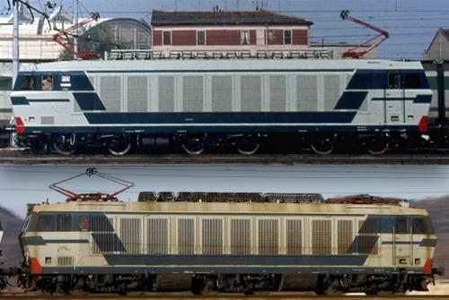 E.633.002 e e.633.204 a confonto. In alto la 002 nel 1979, foto © Albero Perego. In basso la 204 in corsa, foto da trenomania,it
