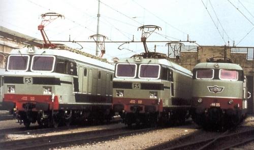 Elettronica di potenza FS in parata: E.633.001, E.632.001, E.444.005. Foto da www.unferrovieremacchinista.it di Bartolomeo Fiorilla