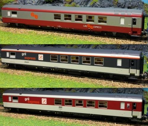 La Gril Express di LS Models in H0, nelle tre livree. Foto da ebay