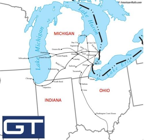 Rete di GTW - mappa elaborata sulla base di una di Americanrails.com