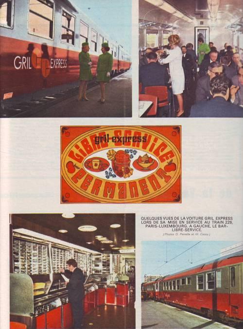 Immagini pubblicitarie del nuovo servizio Grill Express, da Vie du Rail n. 1251 dl 1970