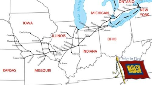Rete della Wabash RR - mappa elaborata sulla base di una di Americanrails.com