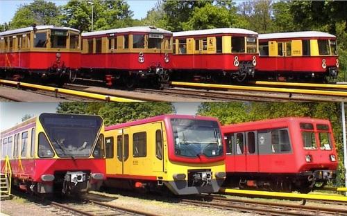 Due foto di Thomas Wendt © http://www.bahnbilder.de mostrano una collezione di S-Bahn.  In alto le ex 165, 167, Br 276, Br 277.  In basso Br 480, Br 481, Br 485 (ex Br 270)