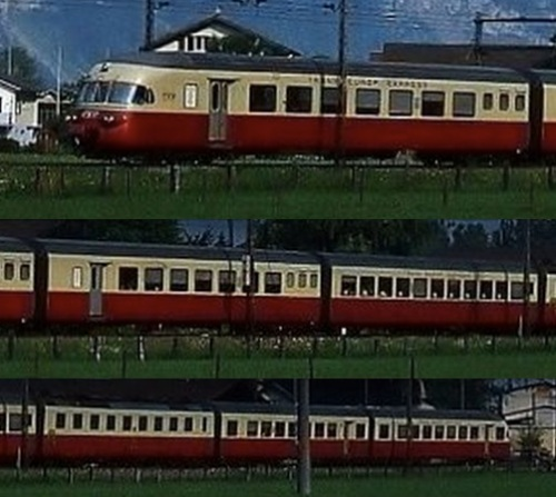 Il RAe a 6 carrozze intero. In testa le carrozze 5 e 6, uguali alle 2 e 1. Dettagli da una foto © Horst Lüdicke da bahnbilder.de