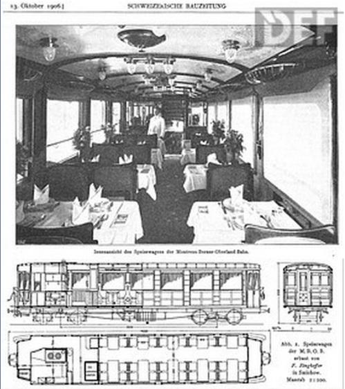 MOB Speisewagen del 1911 - Immagine da schienenfahrzeuge.netshadow.at (Foto: Archiv Arthur Meyer)