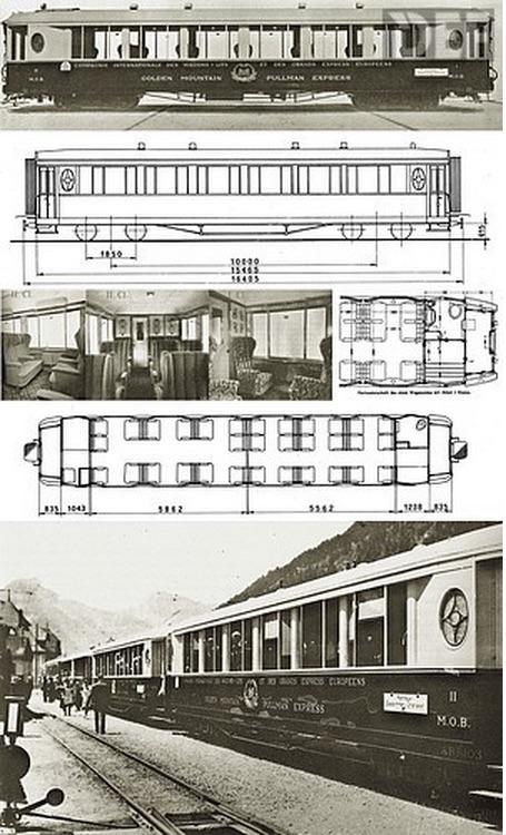 Schema delle 4 carrozze appositamente costruite per il Golden Mountain Pass Express - Immagine da schienenfahrzeuge.netshadow.at (Foto: Archiv Arthur Meyer)