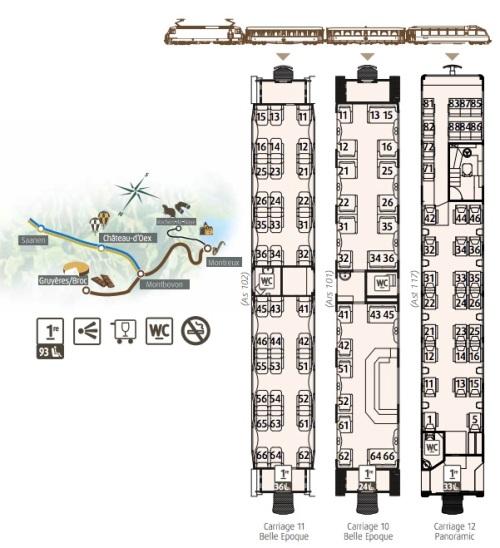"""Composizione, percorso ed interni del """"Train du Chocolat"""", da www.goldenpass.ch."""