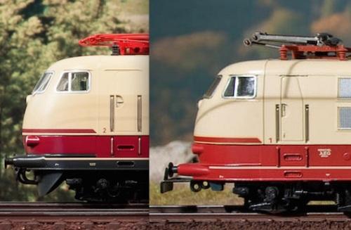 Modelli Märklin: a sinistra la 195, con carenatura sotto il musetto (vomere), a destra la 121, senza. Immagini da märklinfan.com