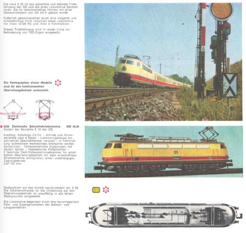 La DB E03 sulle pagine del catalogo Arnold del 1967/68