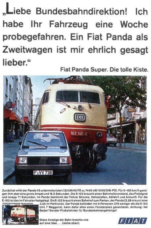 La pubblicità della Panda che apparve su varie riviste tedesche negli anni '80.