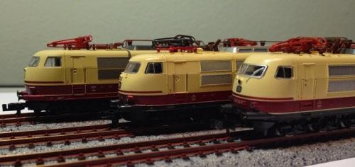 Confronto tra i modelli delle tre marche: arnold, Fleischmann e Minitrix immagine © da rheinmainscale.blogspot.de