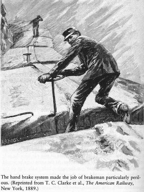 "Brakeman nella tormenta, disegno da ""The Ameircan Railway, 1889"