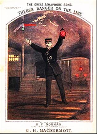 Un guardiano della linea segnala ad un treno di fermarsi, illustrazione da un libro inglese