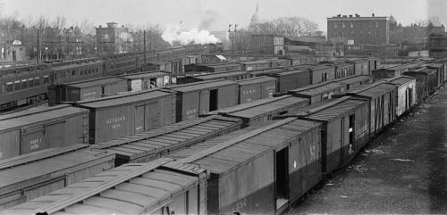 Scalo merci a Washington nel 1917. Foto da US Library of Congress American Memory collection