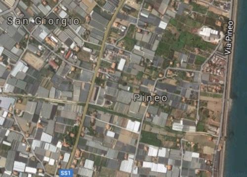 In basso a destra la probabile locazione del disastro, nell'odierno quartiere di Pineo
