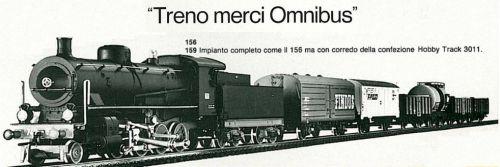 Treno merci Omnibus, a catalogo Rivarossi H0 1983/4. Dal 1981 la morice era una Gr.740 al osto della Gr.625