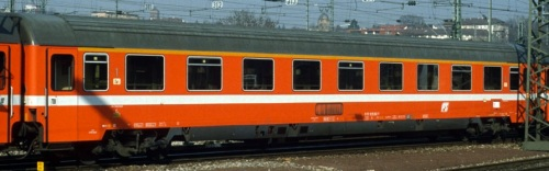 Eurofima FS di prima classe in livrea C1 di origine, lato corridoio, logo a losanga