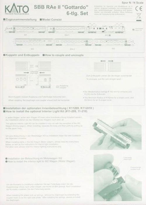 Foglietto di istruzioni del RAe Kato