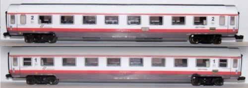 Carrozze Frecciabianca di Original Trains. In alto una GC di seconda classe, i n basso una di prima.