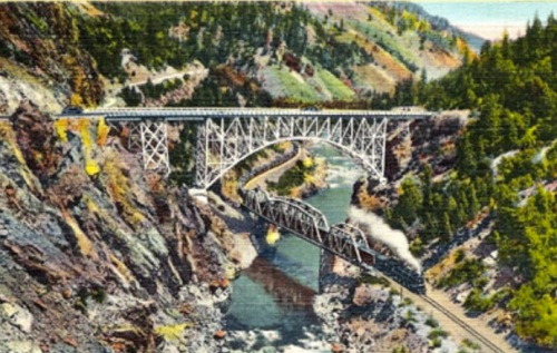 Ponti sul Feather River Bridge, da una vecchia cartolina USA