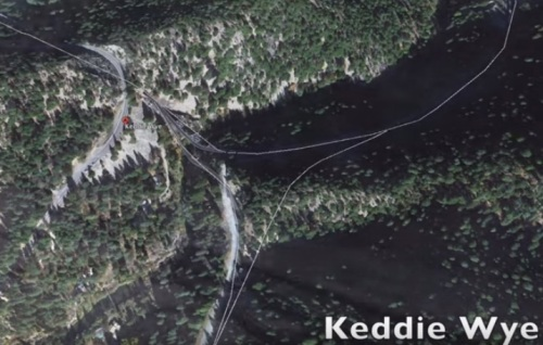 Mappa del Keddie Wye, da un filmato su youtube