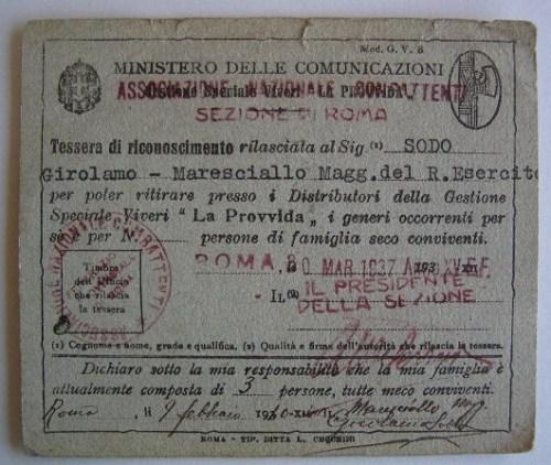 Tessera de La Provvida (1937)