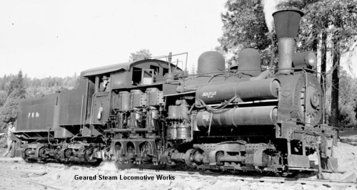 La locomotiva n.2 delle Feather River Railroad, da www.gearedsteam.com,