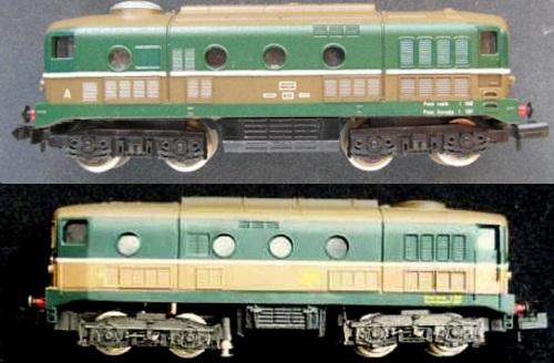 Confronto tra i modelli Lima (sopra) e Rivarossi (sotto). Si può notare come il ventolone sia posizionato sull' imperiale in due posizioni diverse - e quella giusta è quella di Rivarossi