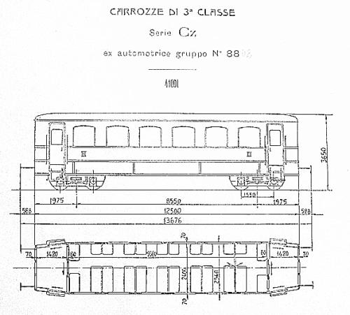 Cz 41 001, ex automotrice 8801. Grazie a Pietro Merlo per lo schema.