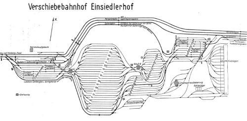Planimetria dello scalo di Einsiedlerhof, Germania, con al centro una sella di lancio