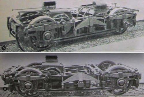 Carrelli originali dell'ETR 200: in alto quello a due motori, in basso quello ad uno. Da Sapere del 1937.