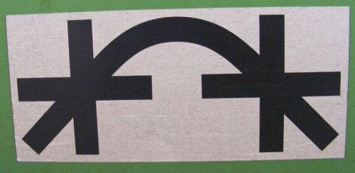 Divieto di utilizzo della rampa di lancio per manovrare questo vagone, simbolo su un carro tedesco.