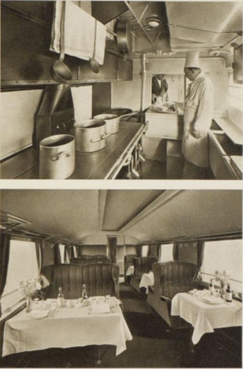 ATR 100: Cucina e carrozza allestita per il pranzo, foto da http://retours.eu/