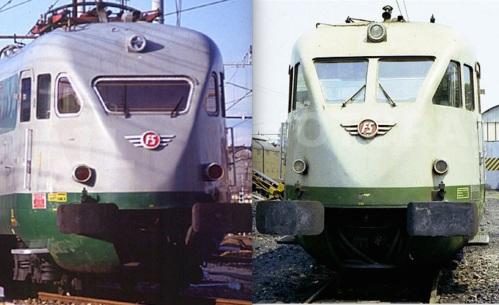 Confronto dei musetti di ETR.220 prima (a destra, foto Pedrazzini) e dopo la trasformazione dei finestrini frontali (sinistra, Foto Paolini)