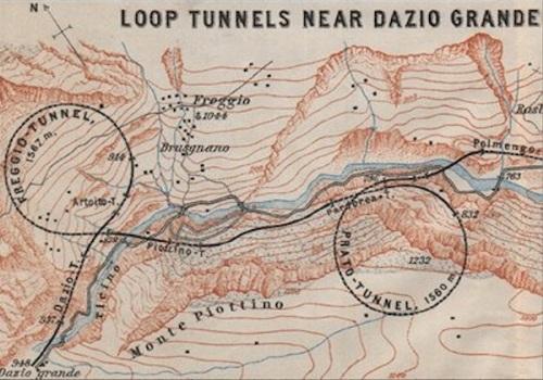 Dazio Grande, con i due viadotti elicoidali di Freggio e Prato
