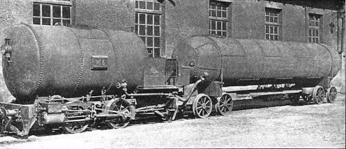 Locomotiva ad aria compressa, con carro ausiliario con scorta di aria, impiegata per la costruzione del tunnel del Gottardo. Foto Ad. Braun & Cie, da wikipedia