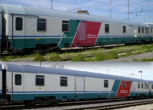 Due bagagliai Z1 assegnati alla UTMR, entrambi lato ritirata, con due varianti di livrea. In alto la 51 83 95-90 123-5 I-FS D (foto © Marcoclaudio da trenomania). in basso il D 61 83 95-90 128-4 (foto © Ernesto Imperato da trenomania)
