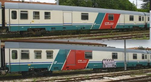 Due bagagliai Z1 assegnati alla UTMR, entrambi lato corridoio, con due varianti di livrea. In alto UTMR D 61 83 95 90 128-4, in basso UTMR D 61 83 95 90 115-9. Enrambe le immagini © Ernesto Imperato da trenomania