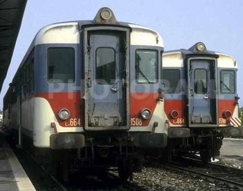 Due 664.35xx a confronto: a sinistra la 3508 con i nuovi fari, a destra la 3518 con i vecchi (legnago 1992). Foto © Stefano Paolini da photorail.com