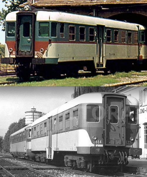 Due Ln.664 con colorazione invertita nella parte inferiore della cassa. Sopra la 3508 nel 1976 (Foto © Alberto Perego), sotto la 3522 nel 1956 (foto © Cludio Pedrazzini - entrambe le immagino da photorail.com).