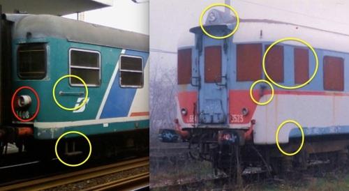 Evidenziazione delle differenze tra serie 1400 a sinistra e 3500 a destra. Il cerchio rosso indica i fanali di tipo automobilistico (più grandi dei precedenti) applicati alle 1400 a partire da fine anni '70 sulle testate di alcune macchine di entrambe le serie.