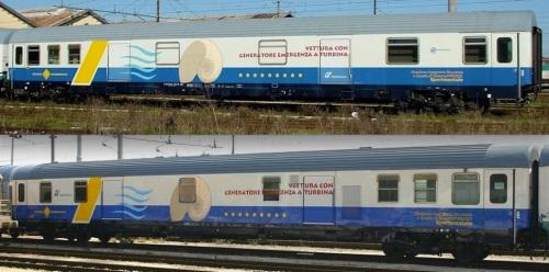 Vettura con Generatore Emergenza a Turbina - DISQS Firenze Foto © R.Alberoni (in alto, lato corridoio) e E. Imperato )in basso, lato ritirata) da trenomania