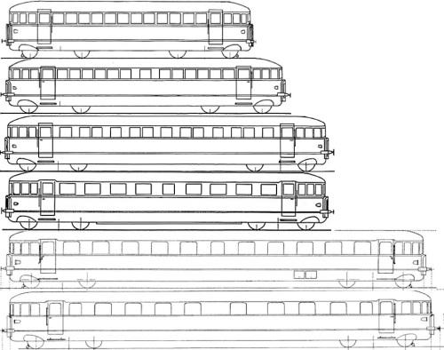 Disegno schematico delle Littorine FIAT di prima generazione. I disegni sono solo indicativi. Dall'alto verso il basso, le ALb 48 prototipo, ALb 48 di serie, ALb 64, ALb 56, ALb 80 e ALn 40. Immagini tratte da http://www.leferrovie.it/ e dall'Album FS Automotrici del 1965