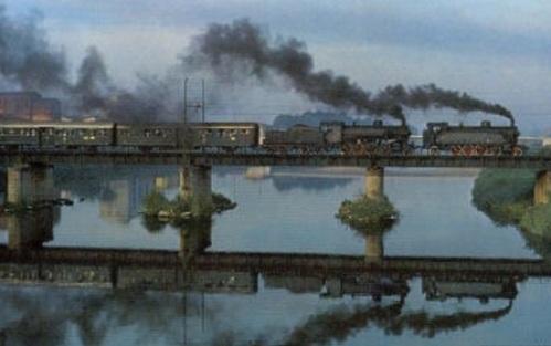 """Celeberrima immagine delledue """"sorelline"""" Gr 940 e Gr 740 in doppia trazione, copertina del libro """"Dampf in Italien di H. Rohrer"""