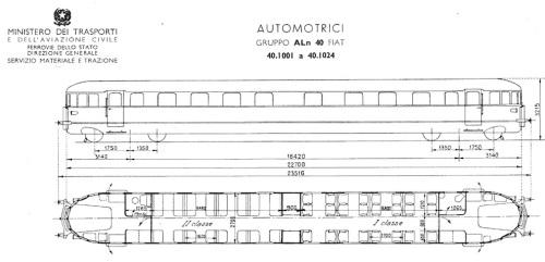 Schema ALn 40 dopo l'eliminazione della cucina, dall'Album delle Automotrici FS del 1965