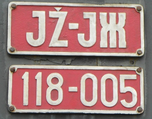 Targa della JŽ 118-005