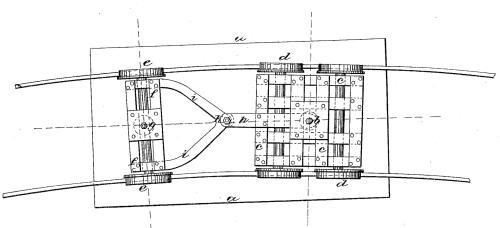 Disegno originale di Bissell per il suo carrello, dal brevetto.